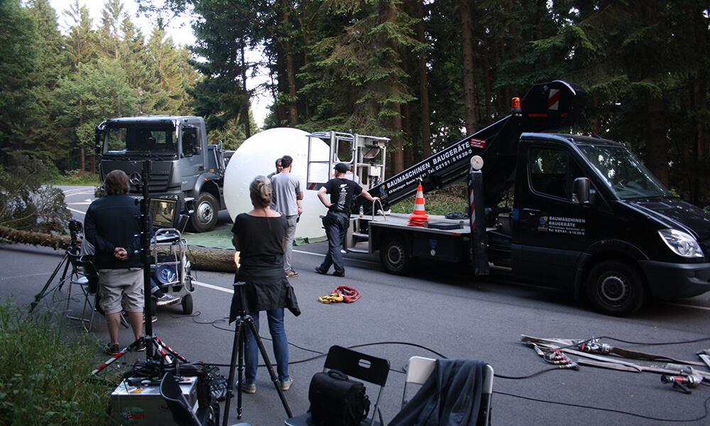 Filmproduktion: Aufgebautes Filmproduktionsset.